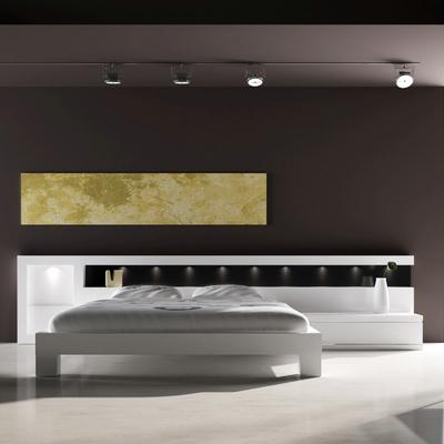Dormitori Area amb leds lacat blanc mate/trassera negre
