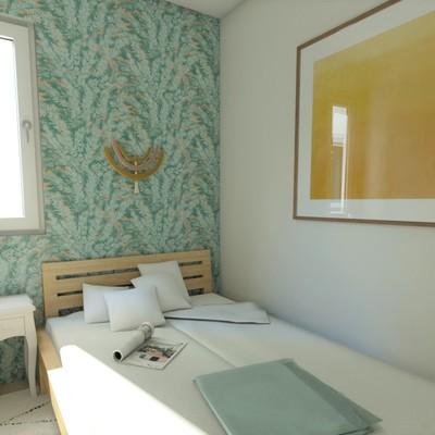 Render dormitorio invitados proyecto Cuatro Caminos