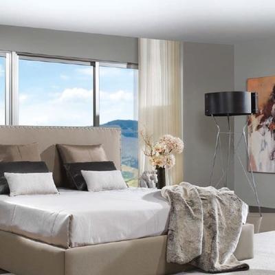 Dormitorio cama beige