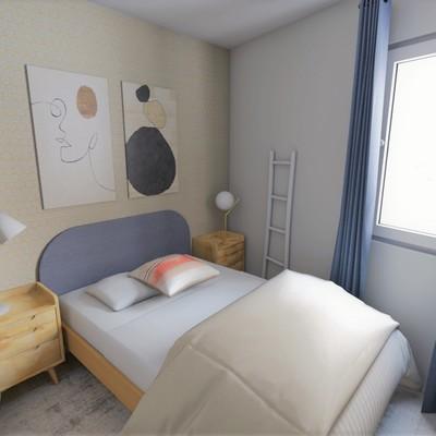 Render dormitorio principal proyecto Cuatro Caminos