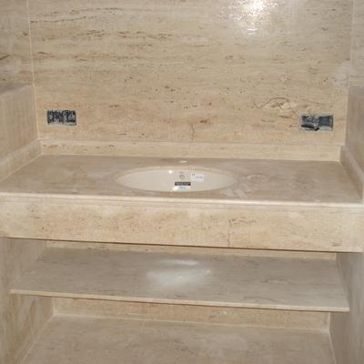 Encimera de lavabo en marmol travertino