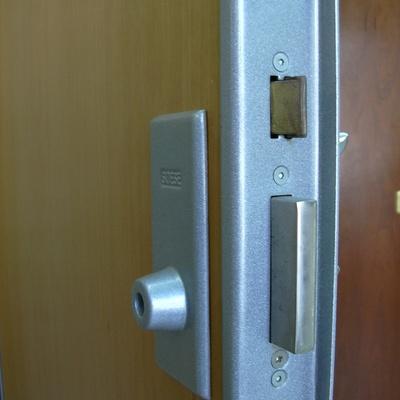 Puerta blindada con escudo