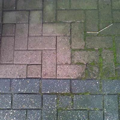 Diferencia de limpieza de suelo con agua a presión