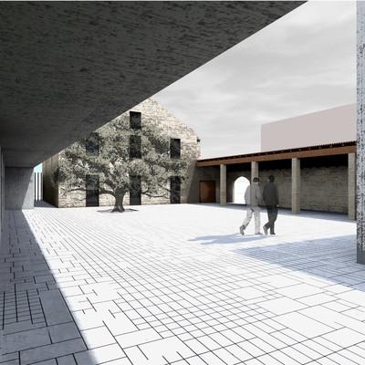 Vista exterior edificio existente y entrada, Centro Cultural en la Helios