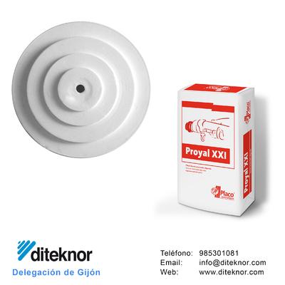 En los almacenes diteknor tenemos un amplio stock de piezas prefabricadas de escayola: placas, baldas, baquetones, cornisas, molduras, frisos, esquineros...  También tenemos las mejores marcas de yesos ensacados