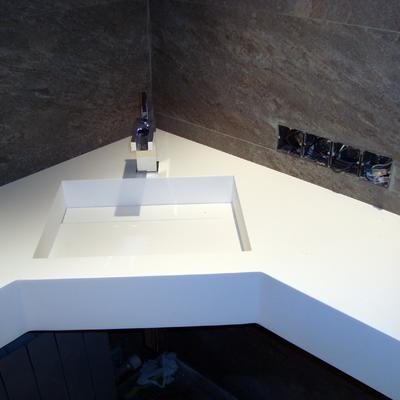 Encimera de bany realitzada amb Krion