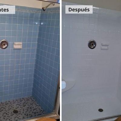 Esmaltado de azulejos y cambio de color de plato de ducha