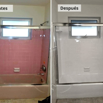 Esmaltado de azulejos y bañera con cambio de color