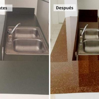 Esmaltado de encimera de cocina imitación granito