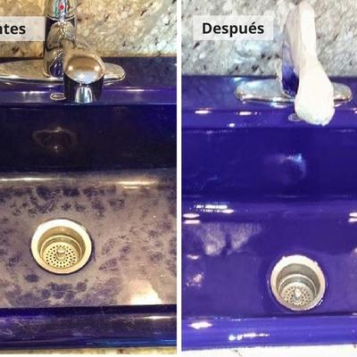 Esmaltado de lavamanos color morado