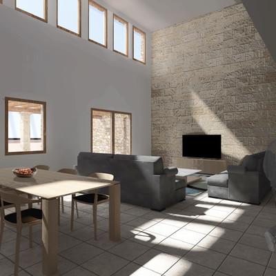 Vista interior, espacio doble altura, RAL House