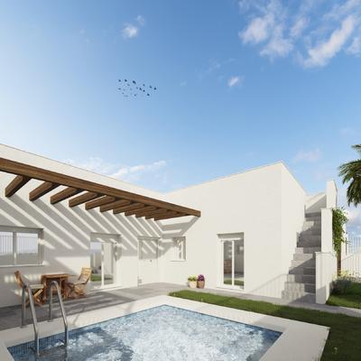 Estudio CGM Infografías. Render 4 viviendas con piscina. La Alfoquía, Almería 2