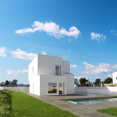 Render vivienda unifamiliar con piscina. El Toyo, Almería