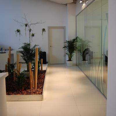 Jardín artificial y sala de exposición