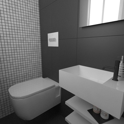 Reforma de baño en tonos blancos y negros.