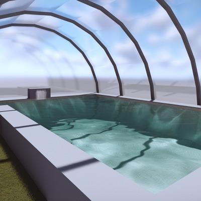Diseño 3d piscina con cubierta