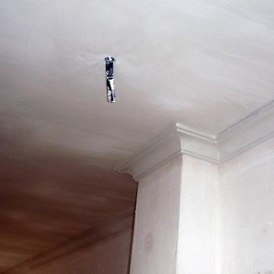 Falso techo liso con moldura de media caña grande.