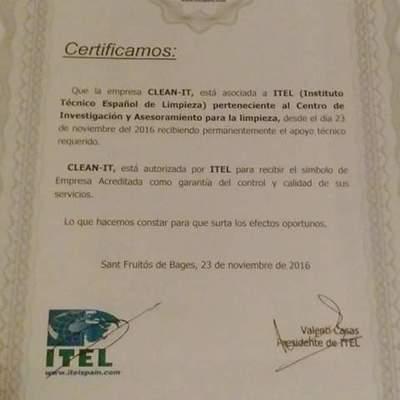 Certificado calidad otorgado por ITEL