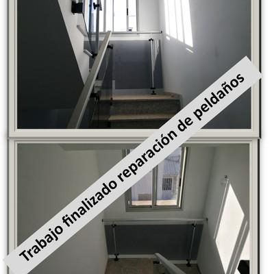 Terminado pladur, pintura y repación de peldaños de escalera.