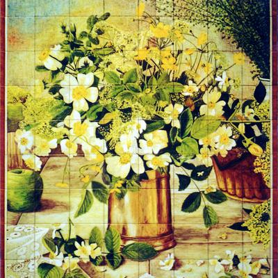 Flores silvestre en vasija de cobre