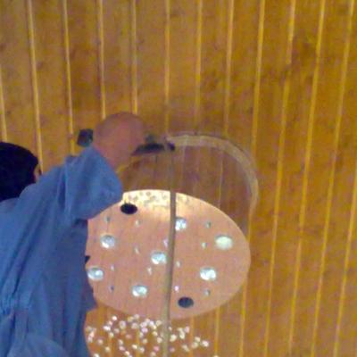 Forrando La lampara con madera igual que el techo