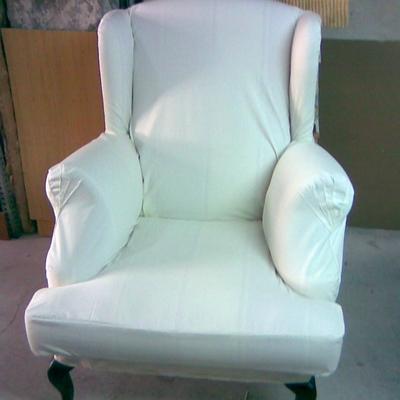 funda de lienzo a sillón orejero con cojín aparte