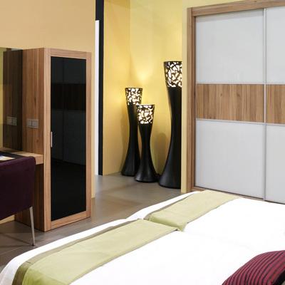 Habitación de hotel con armario, dormitorio y escritorio.