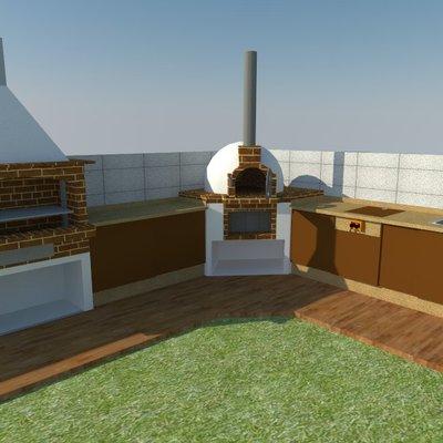 Diseño de horno de leña y barbacoa con mueble bajo de cocina en 3D Modelo David