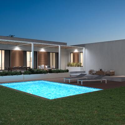 Casa Prefabricada 2 modulos con piscina atardecer