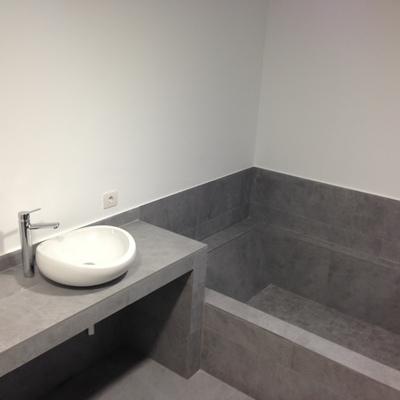 encimera y bañera de obra