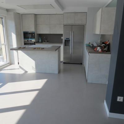 Salón y cocina en Microcemento
