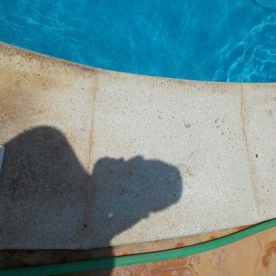 limpieza de el borde de la piscina