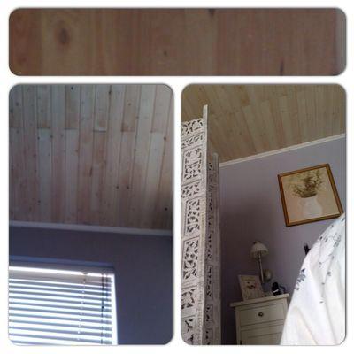 Pintura en habitacion y techo de madera