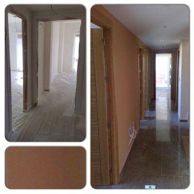 Pintura en pasillo y habitaciones