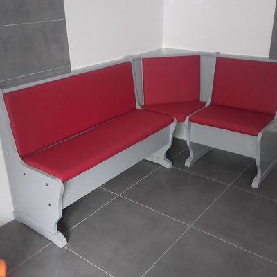 Banco cocina lacado gris tapizado skay