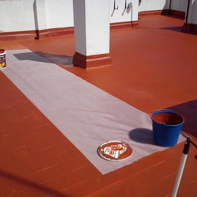 Terraza con fibra y pintura