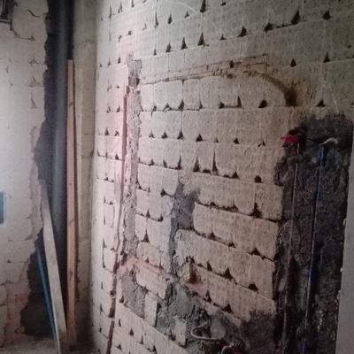 picado de paredes para posterior lucido