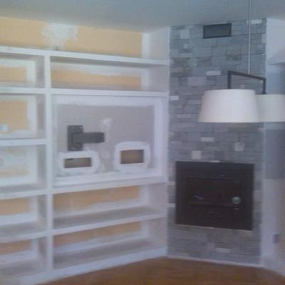 mueble salón con soporte tv