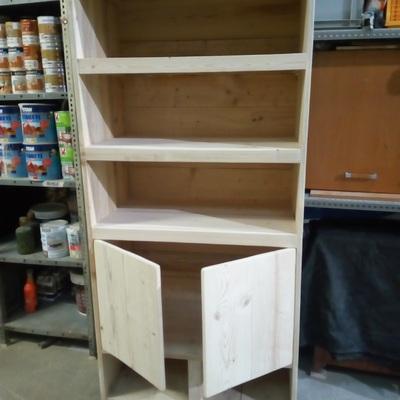 armario estantería de madera natural