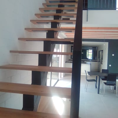 ESCALERA  METALICA  CON  UNA  BIGA  CENTRAL