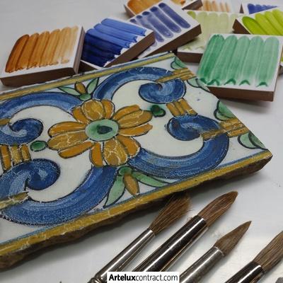Azulejo pintado a mano por Artelux
