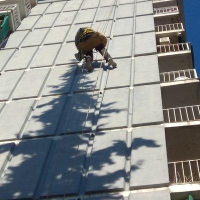 Trabajo vertical en fachada con problema de avispas.