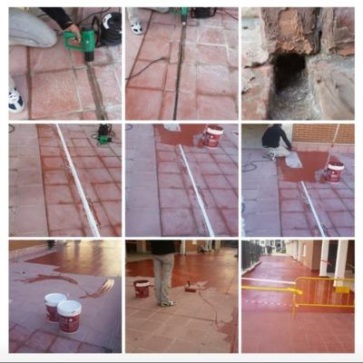 Juntas de dilatación y impermehabilizado de suelo por filtraciones en garajes