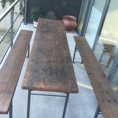 restauracion de mesa y banco de madera