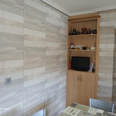 papel imitación madera en cocina