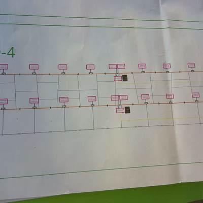 Plano de la fachada del alumbrado LED del centro comercial de metro mar sevilla