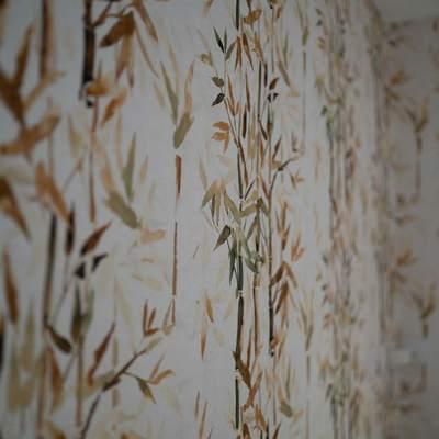 Papel pintado en pared dormitorio