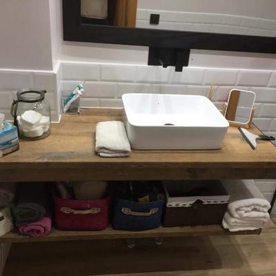 Encimera lavabo imitacion madera