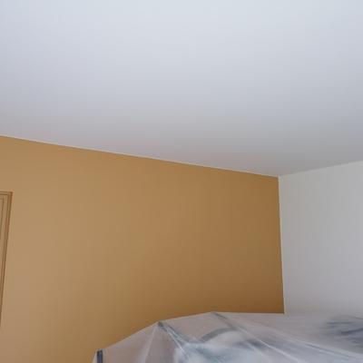 3 colores. Techo blanco pared dorada. Y blanco roto