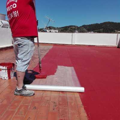 Teraza stop gotera con calcho rojo y fibra